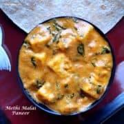 Methi malai paneer curry